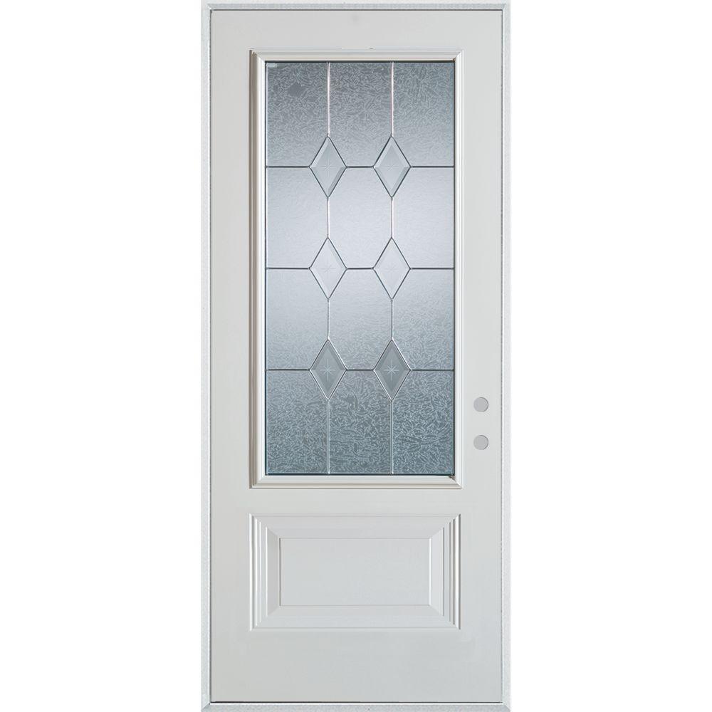 37.375 in. x 82.375 in. Geometric Brass 3/4 Lite 1-Panel Painted White Left-Hand Inswing Steel Prehung Front Door