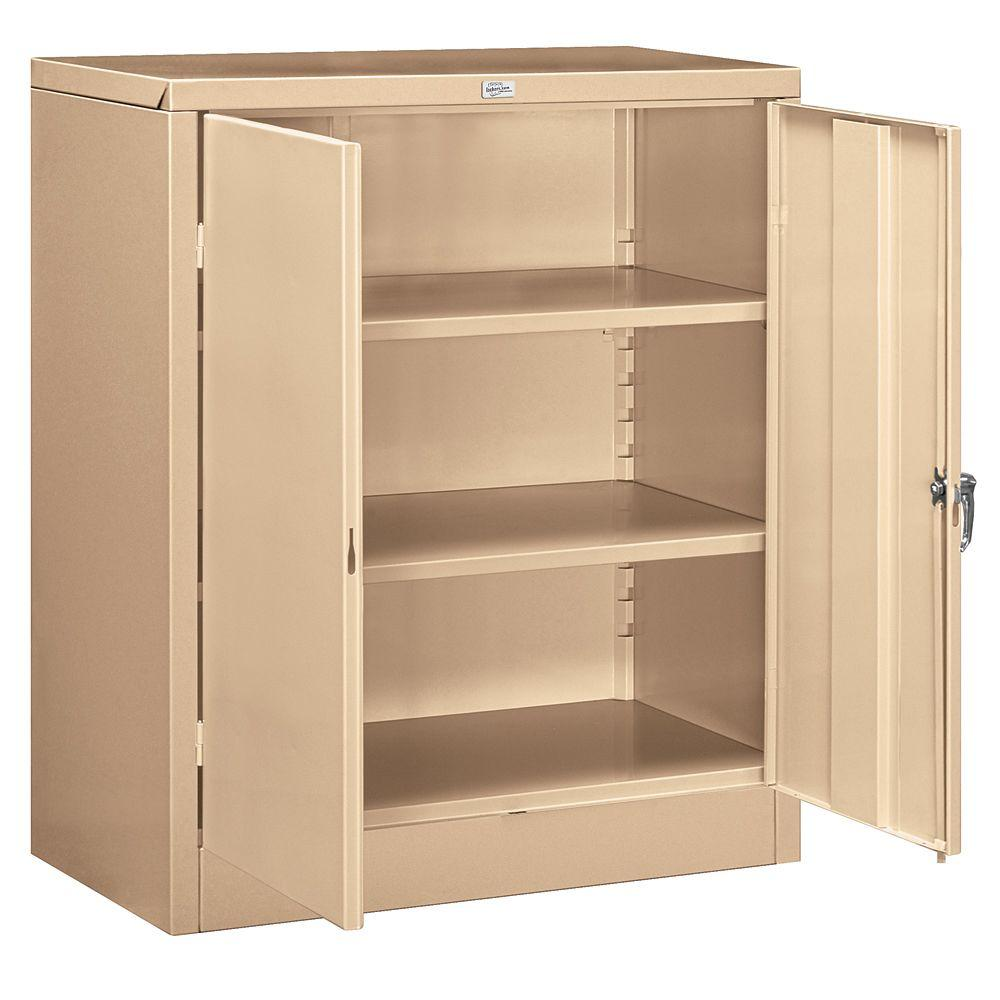 Salsbury Industries 9000 Series 42 in. H x 18 in. D Counter Height Storage Cabinet Assembled in Tan