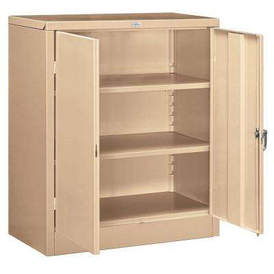 36 in. W x 42 in. H x 18 in. D Counter Height Storage Cabinet Assembled in Tan