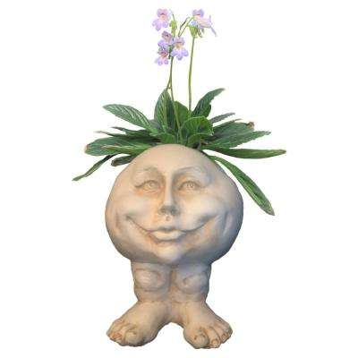 12 in. Antique White Mama Petunia the Muggly Statue Face Planter Holds 4 in. Pot