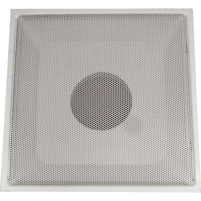 24 in. x 24 in. Drop Ceiling T-Bar Perforated Face Return Air Vent Grille, White with 14 in. Collar