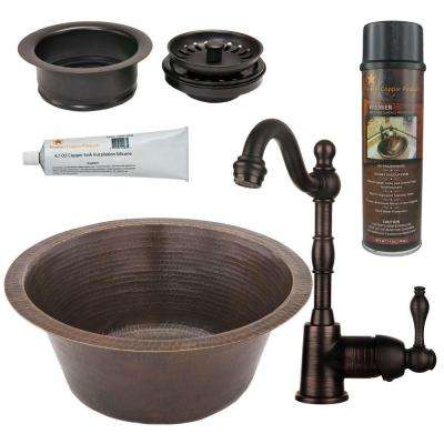 All-in-One Dual Mount Copper 16 in. 0-Hole Round Bar/Prep Sink in Oil Rubbed Bronze