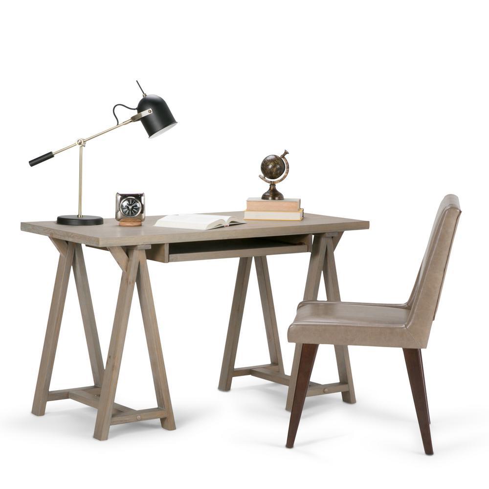 Simply Home Sawhorse Distressed Grey Desk