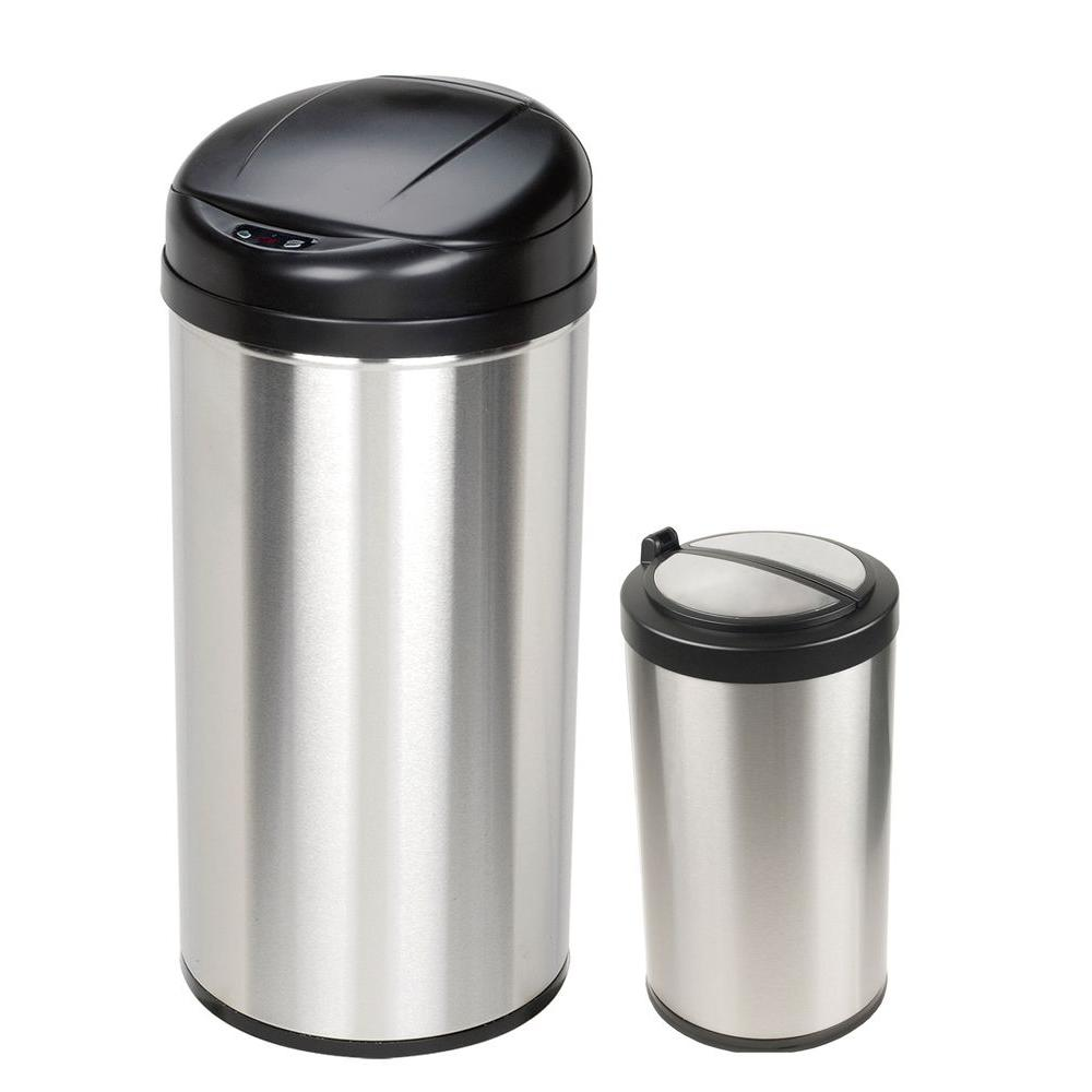 Nine Stars 10.6 Gal. and 3 Gal. Stainless Steel Motion Sensing Touchless Infrared Trash Can Combo Pack