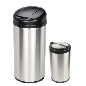 stainless steel motion sensing touchless infrared trash can combo