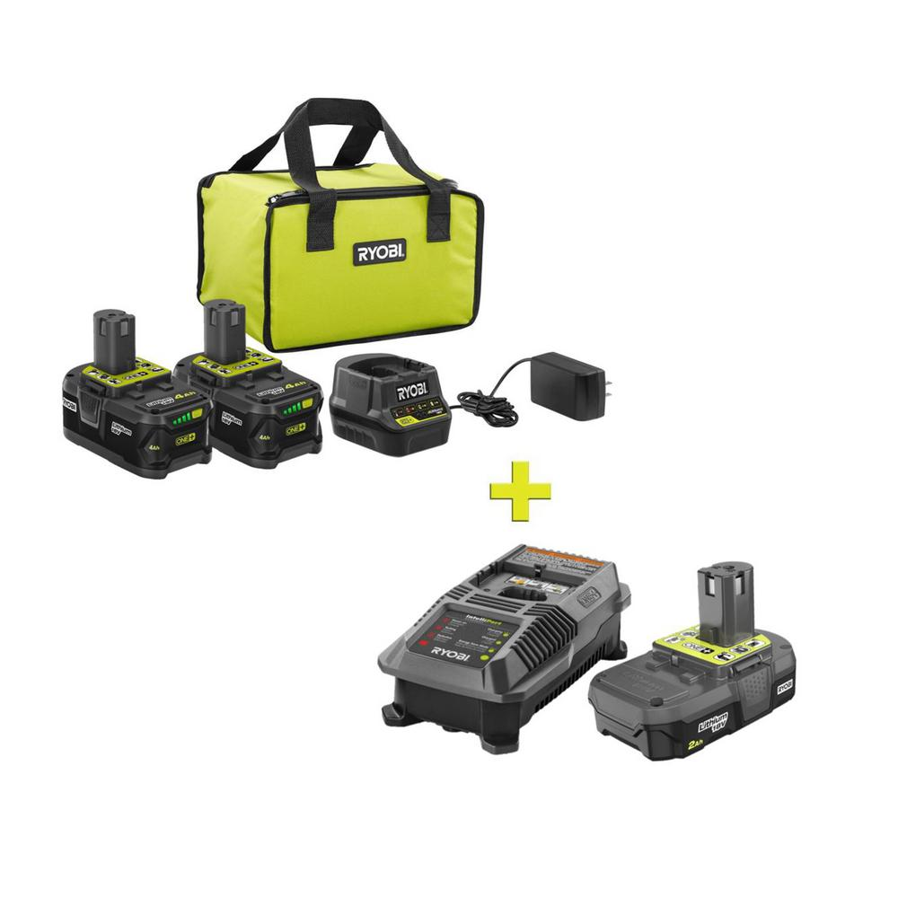 RYOBI 18-Volt ONE+ High Capacity 4.0 Ah Battery (2-Pack) Starter Kit with Charger and Bag w/FREE ONE+ 2Ah Battery and Charger was $301.0 now $99.0 (67.0% off)