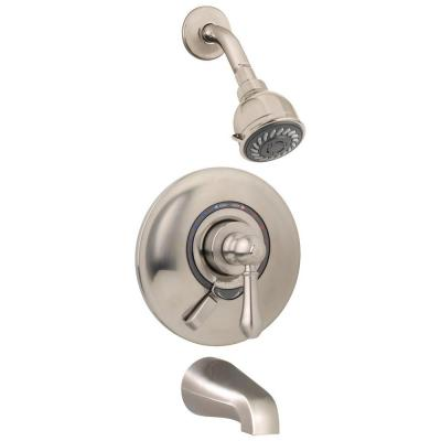 Allura Single-Handle 2-Spray Tub and Shower Faucet with VersaFlex Integral Diverter in Satin Nickel (Valve Included)