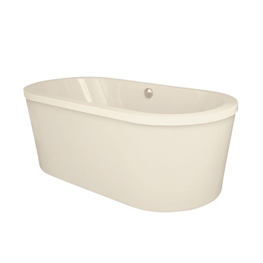 Hydro Systems Raleigh 6 ft. Center Drain Freestanding Air Bath Tub in Biscuit