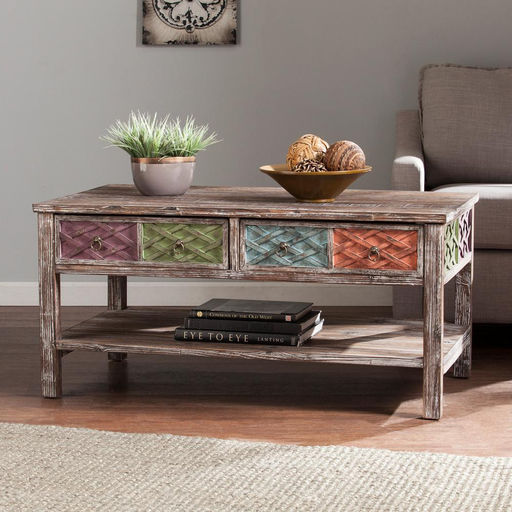 Southern Enterprises Erie Multi Colored Storage Coffee Table Hd059600 The Home Depot
