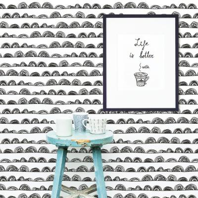 28.29 sq. ft. Doodle Scallop Peel and Stick Wallpaper
