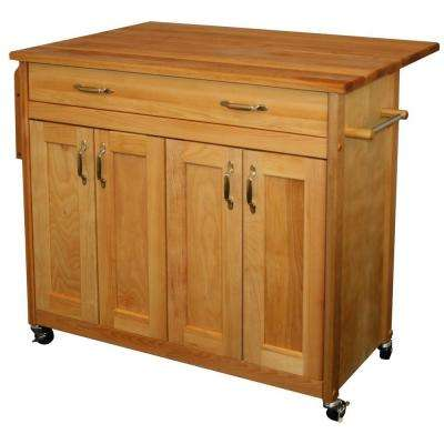 Natural Kitchen Cart With Drop Leaf