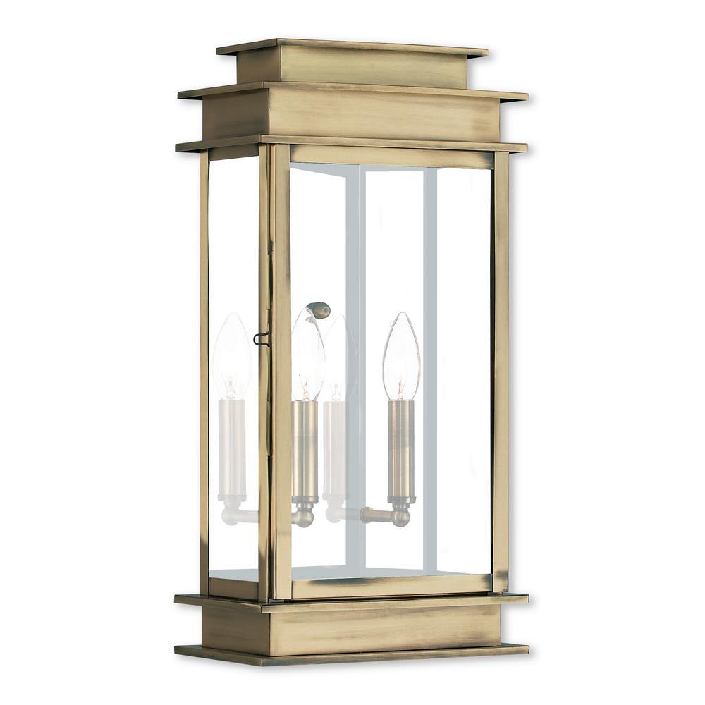 Princeton 2-Light Antique Brass Outdoor Wall Mount Lantern