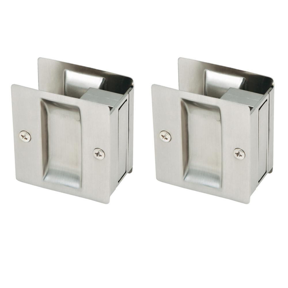 Satin Nickel Pocket Door Passage Hardware (2 per Pack)