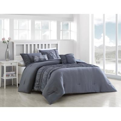 Navier 6-Piece Gray Queen Rouched Comforter Set with Throw Pillows