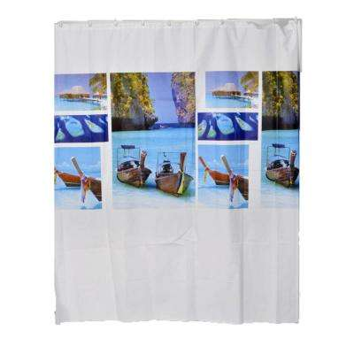 Evideco 71 in. x 71 in. Multi-Colored Paradise Bathroom Printed Peva Shower Curtain