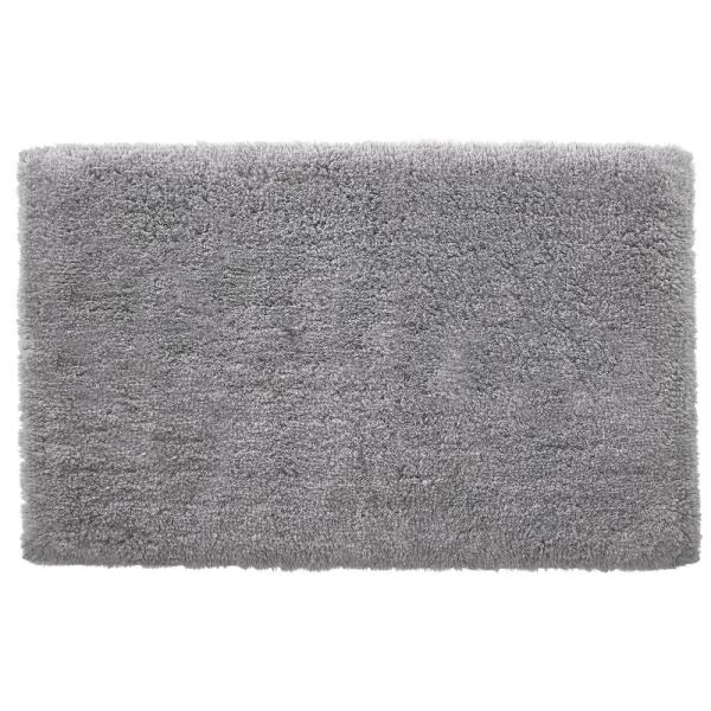 Stone Gray 25 in. x 40 in. Non-Skid Cotton Bath Rug