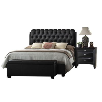 Ireland Black Eastern King Upholstered Bed
