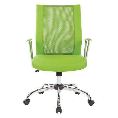 Bridgeway Green Woven Mesh Office Chair and Chrome Base
