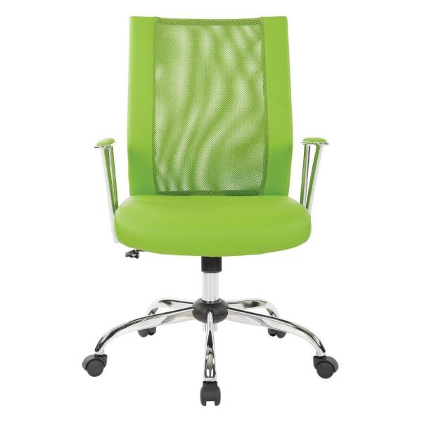 OSP Home Furnishings Bridgeway Green Woven Mesh Office Chair and Chrome