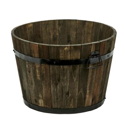 18 in. Dia x 13 in. H Brown Wood Bucket Barrel