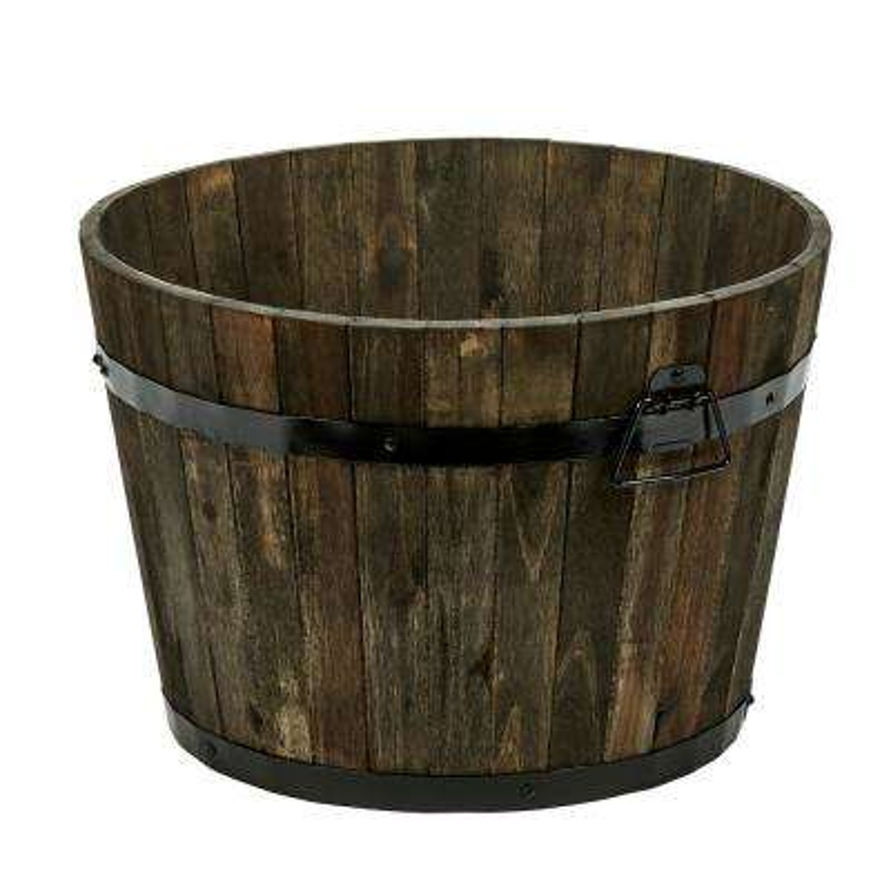 13 in. Wood Barrel in Brown Oil