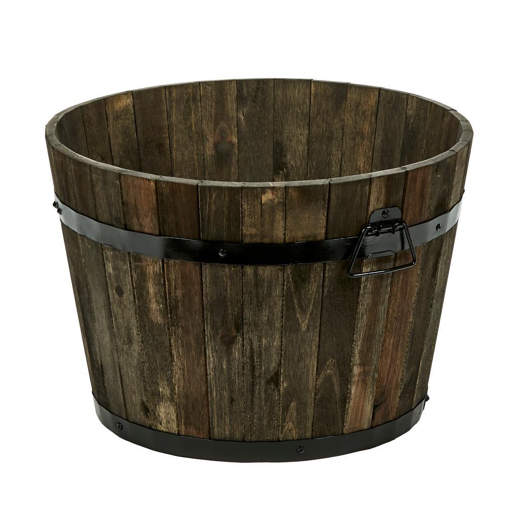 18 in. Dia x 13 in. H Brown Wood Bucket Barrel