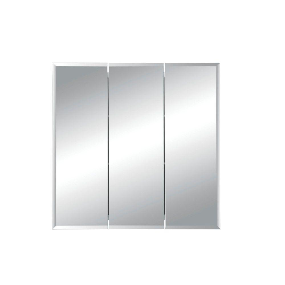 Jensen Horizon 24 In W X 24 In H X 5 In D Frameless Recessed Bathroom Medicine Cabinet With Beveled Mirror In White 255024x The Home Depot
