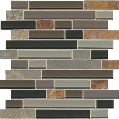 Slate Radiance Flint 11-3/4 in. x 12-1/2 in. x 8 mm Glass and Stone Random Mosaic Blend Wall Tile