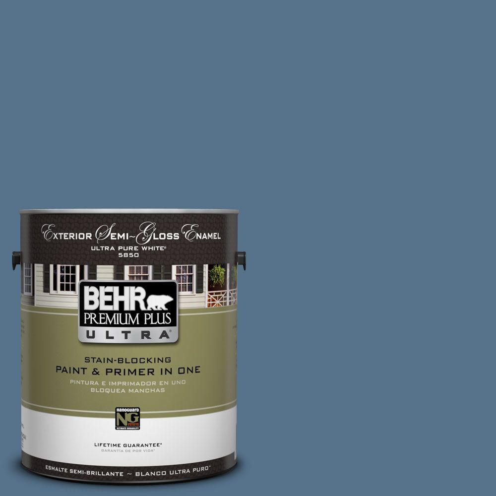 BEHR Premium Plus Ultra 1-Gal. #UL230-3 Arrowhead Lake Semi-Gloss Enamel Exterior Paint