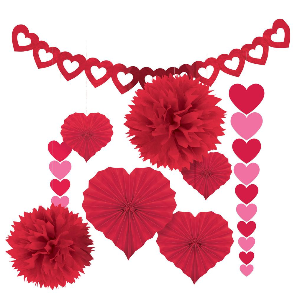 Paper 9-Piece Valentine's Day Decorating Kit, Reds/Pinks