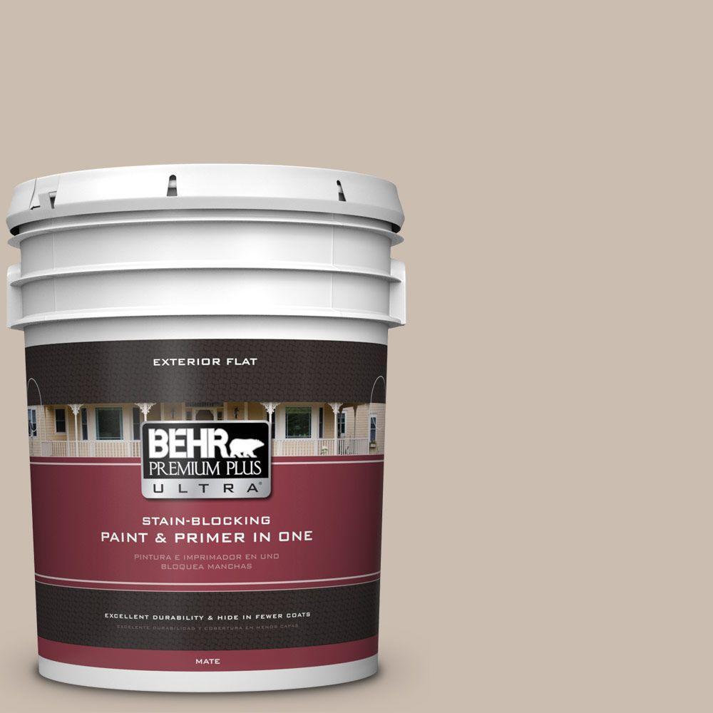 BEHR Premium Plus Ultra 5-gal. #PPU5-13 Creamy Mushroom Flat Exterior Paint