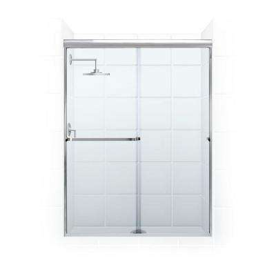 Paragon 3/16 B Series 56 in. x 65 in. Semi-Framed Sliding Shower Door with Towel Bar in Chrome and Clear Glass