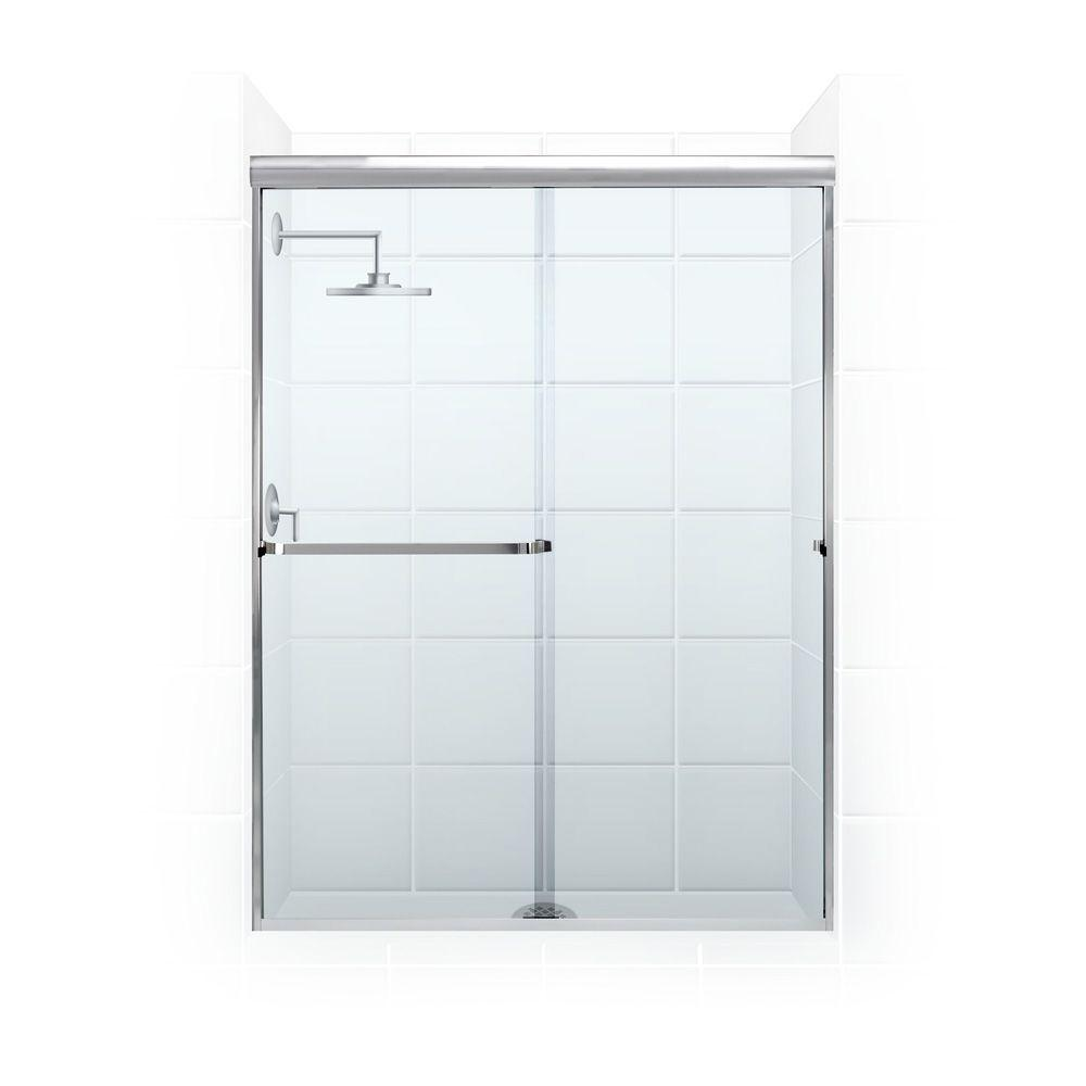 Coastal Shower Doors Paragon 3/16 B Series 56 in. x 69 in. Semi-Framed Sliding Shower Door with Towel Bar in Chrome and Clear Glass