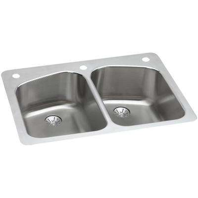 Lustertone Dual Mount Stainless Steel 33 in. 3-Hole Double Bowl Kitchen Sink