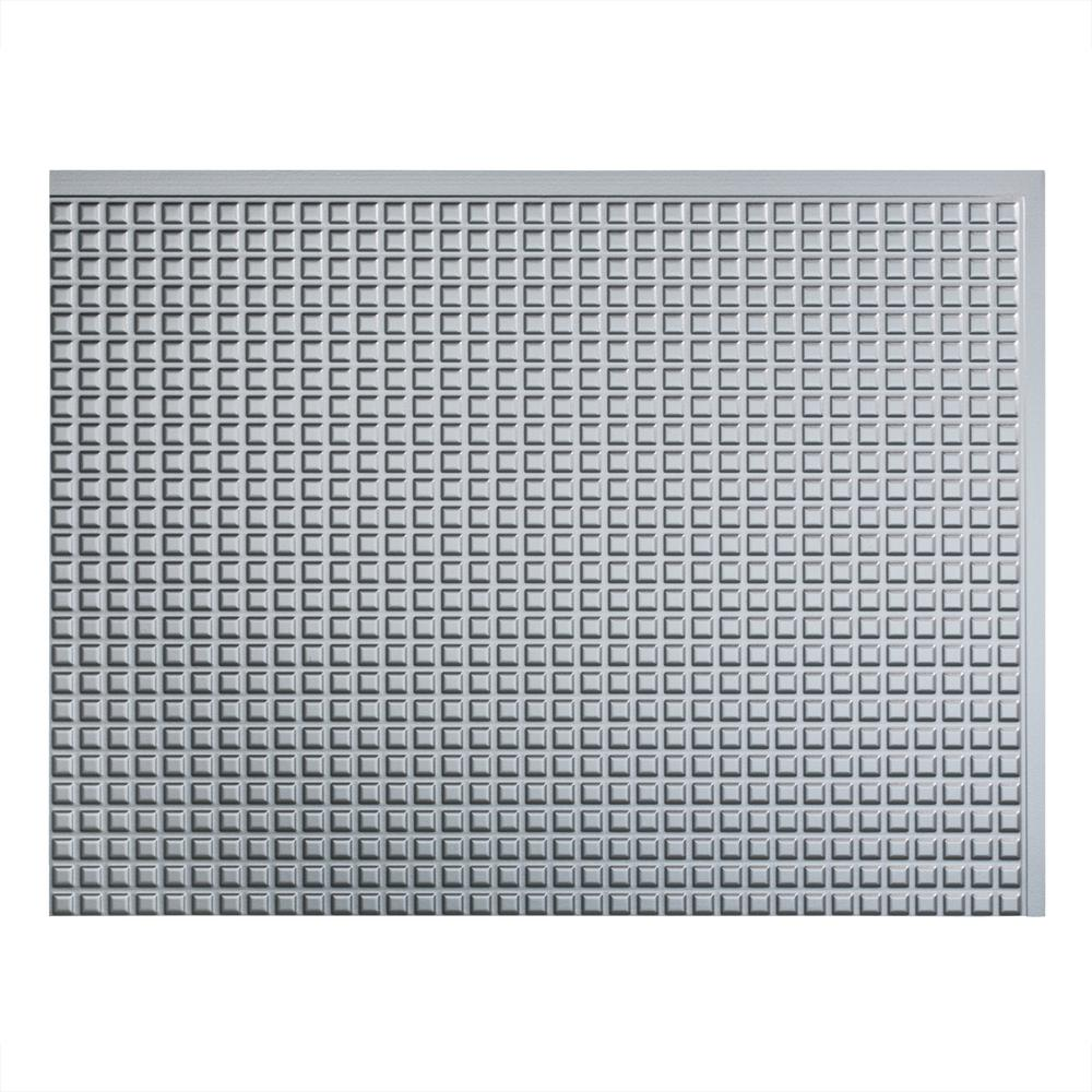 Square 18 in. x 24 in. Argent Silver Vinyl Decorative Wall
