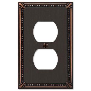 Imperial Bead 1 Gang Duplex Metal Wall Plate - Aged Bronze