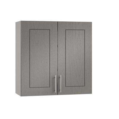Assembled 30x30x12 in. Palm Beach Open Back Outdoor Kitchen Wall Cabinet with 2 Doors in Rustic Gray