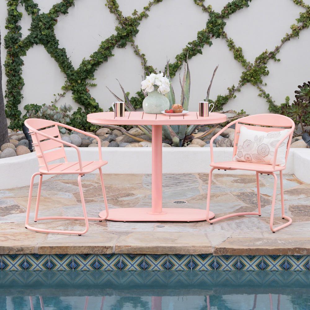 Matte Coral 3-Piece Metal Oval Outdoor Bistro Set