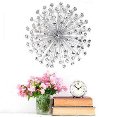Stratton Home Decor 24 in. Silver Acrylic Burst Wall Decor