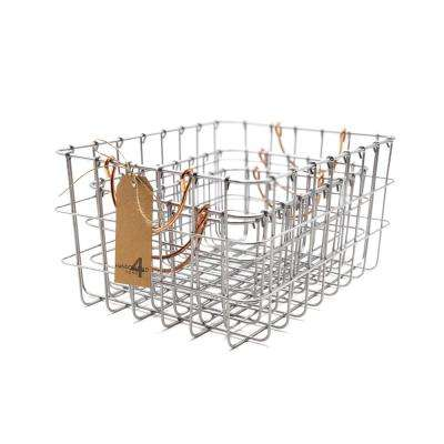 16 in. W x 12 in. D x 8 in. H Rectangular Metal Silver Nested Baskets (Set of 3)