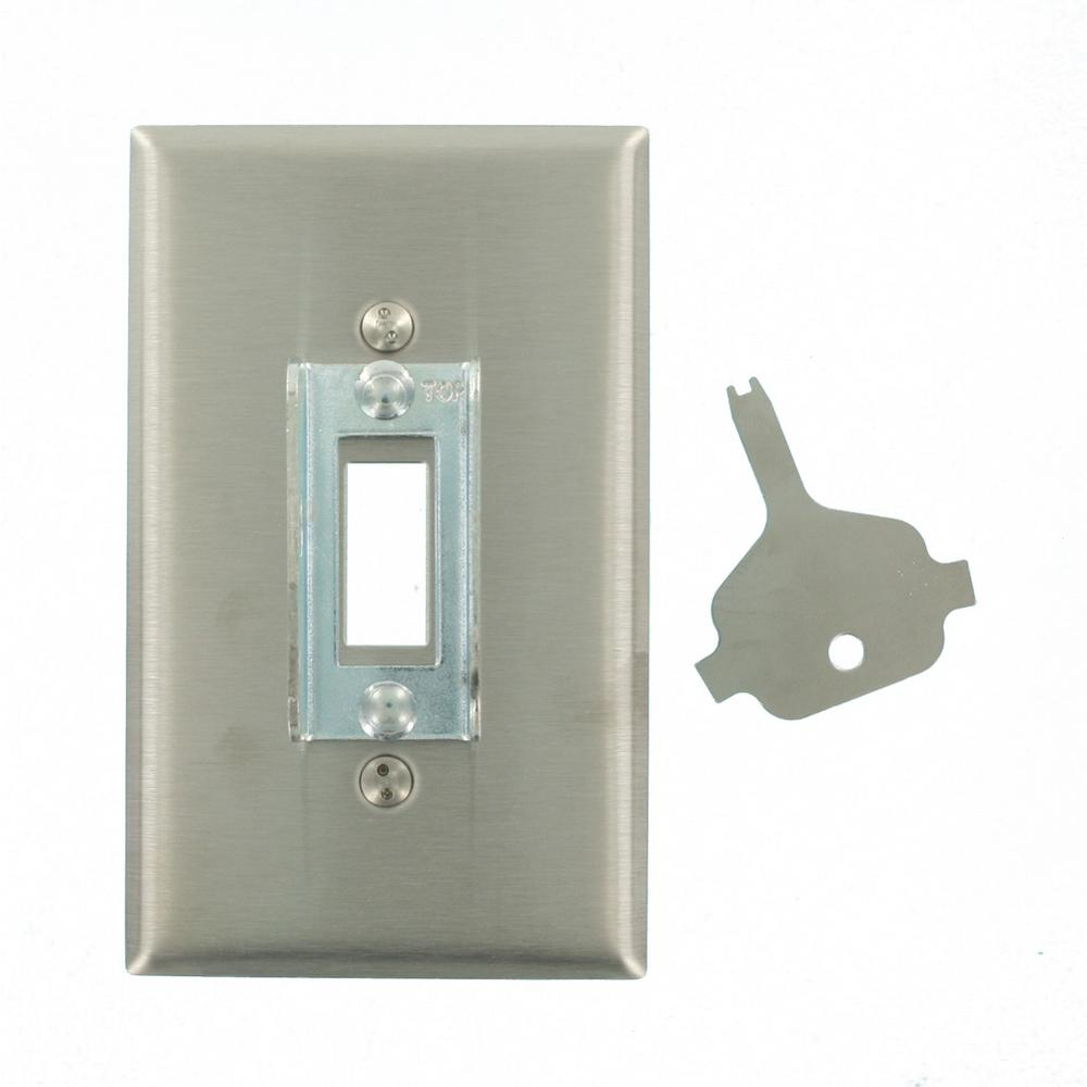 1-Gang Standard Size Stainless Steel Lockout Wall Plate with Tamper Resistant