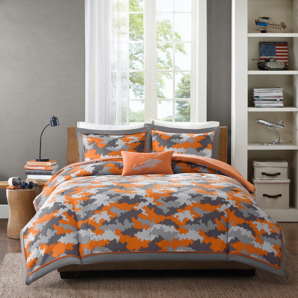 Mikey 4-Piece Orange Full/Queen Comforter Set