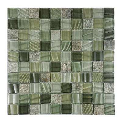 New Era II Pickel Green Square Mosaic 1 in. x 1 in. Glass and Stone Mesh Mounted Wall Pool and Floor Tile (1.09 Sq. ft.)