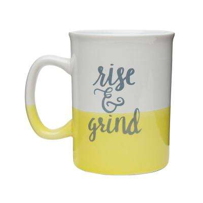 Rise and Grind 28 oz. White-Yellow Dipped Ceramic Coffee Mug