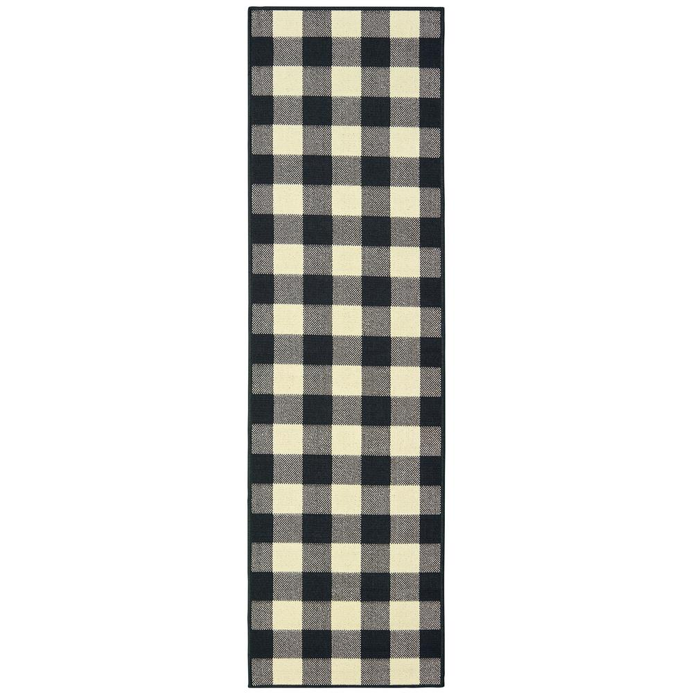 Sienna Buffalo Check Black Ivory 2 Ft 3 In X 7 Ft 6 In Indoor Outdoor Runner Rug