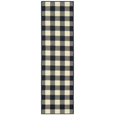 Sienna Buffalo Check Black-Ivory 2 ft. 3 in. x 7 ft. 6 in. Indoor/Outdoor Runner Rug