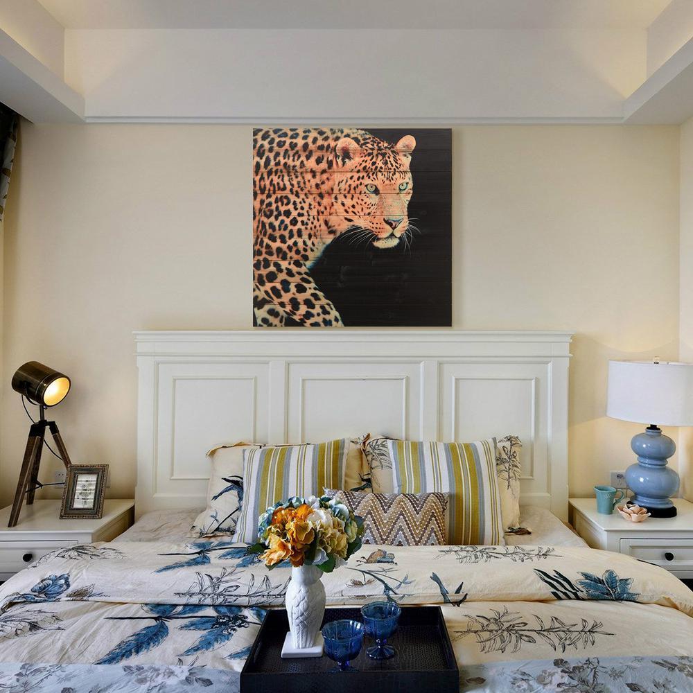 "36 in. x 36 in. ""Panther"" Arte de Legno Digital Print on Solid Wood Wall Art"