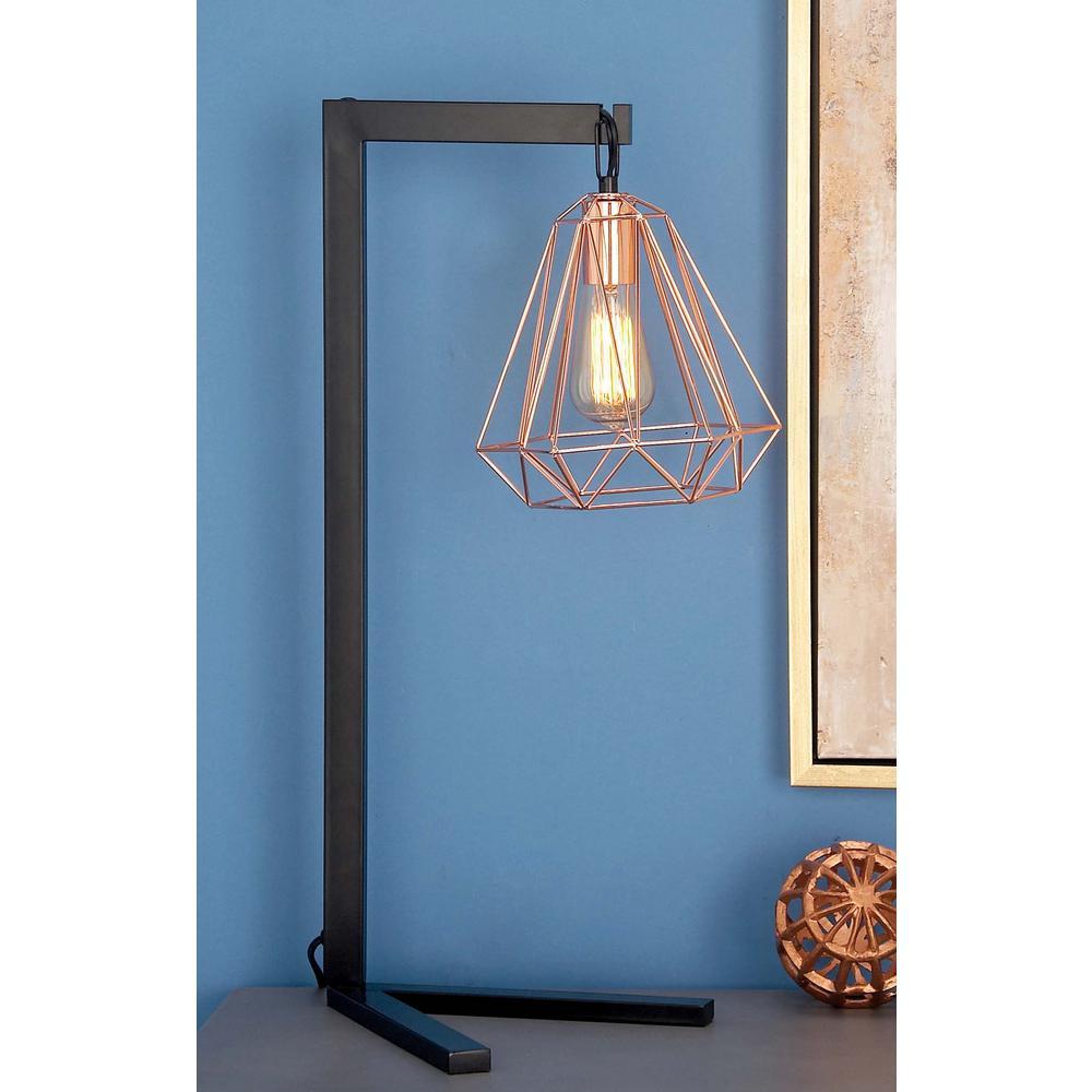 26 in. Modern Iron Diamond Prism Table Lamp in Black
