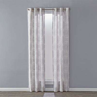 Kali Dove Gray Polyester Light Filtering UPH 50+ Curtain-40 in. W x 63 in. L