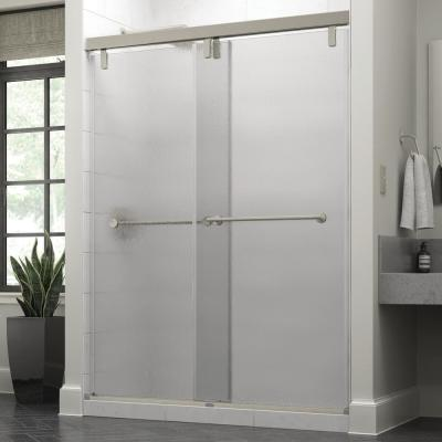 Crestfield 60 in. x 71-1/2 in. Mod Semi-Frameless Sliding Shower Door in Nickel and 3/8 in. (10mm) Rain Glass